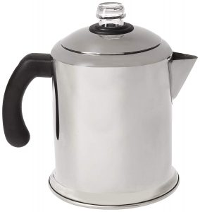 The Farberware Percolator comes in 8 and 12 cup sizes and works great for camping.