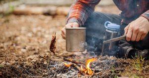 Campfire coffee brewing