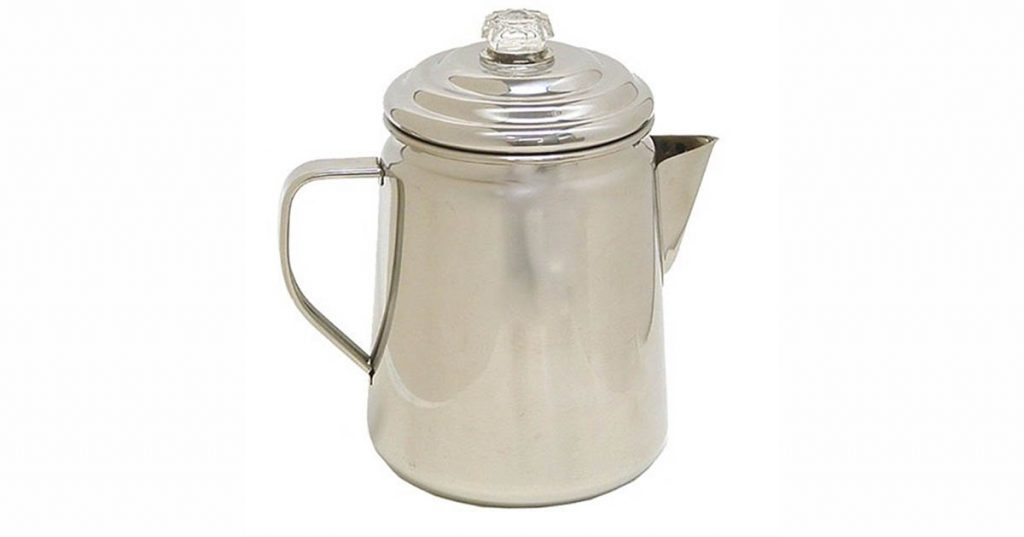 This 12 cup Coleman Percolator is ready for a camp fire
