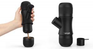 This portable espresso maker is a great option for camping.