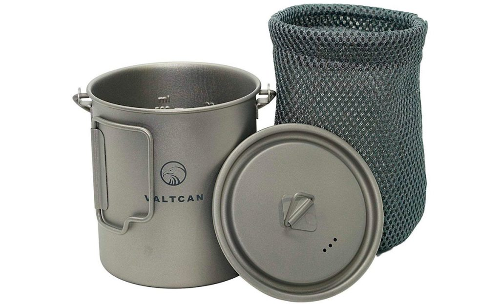 The Valtcan titanium coffee cup has a lid and carry bag.