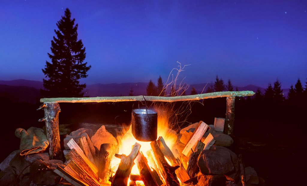 A campfire is a trie and true method of boiling water for coffee or tea.