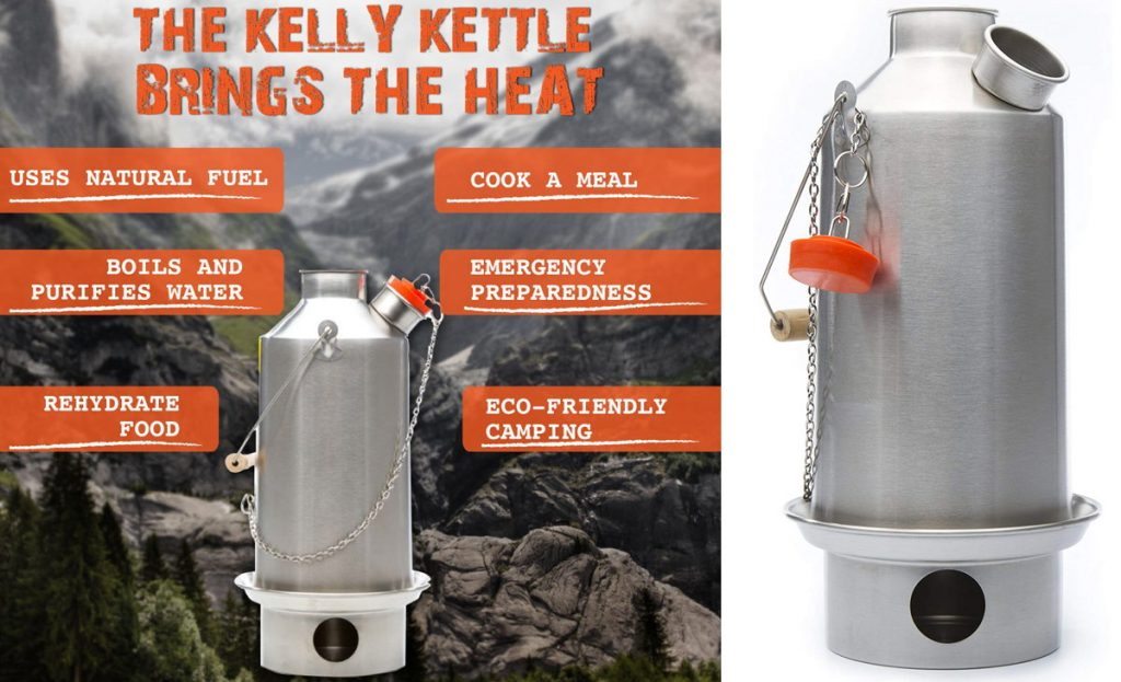 Kelly Kettles come in different sizes and they are an innovative way to boil water outdoors.